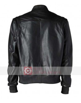 Black Letterman Bomber Leather Jacket