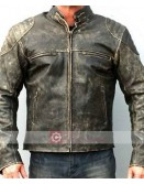 Distressed Hooligan Leather Biker Jacket