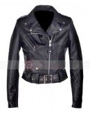 218W Womens Cropped Perfecto Black Lambskin Leather Jacket