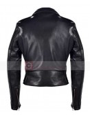 Miranda Kerr Balenciaga Biker Quilted Black Leather Jacket