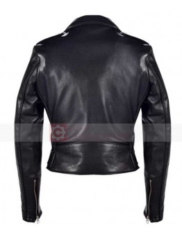 Miranda Kerr Balenciaga Biker Quilted Black Leather Jacket