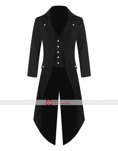 Black Cotto Wedding Party Mens Steampunk Tailcoat Jacket