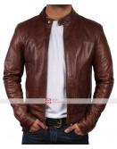 Slim Fit Biker Moto VINTAGE CAFE RACER Brown Leather Jacket