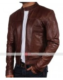 Slim Fit Biker Moto VINTAGE CAFE RACER Brown Leather Jacket