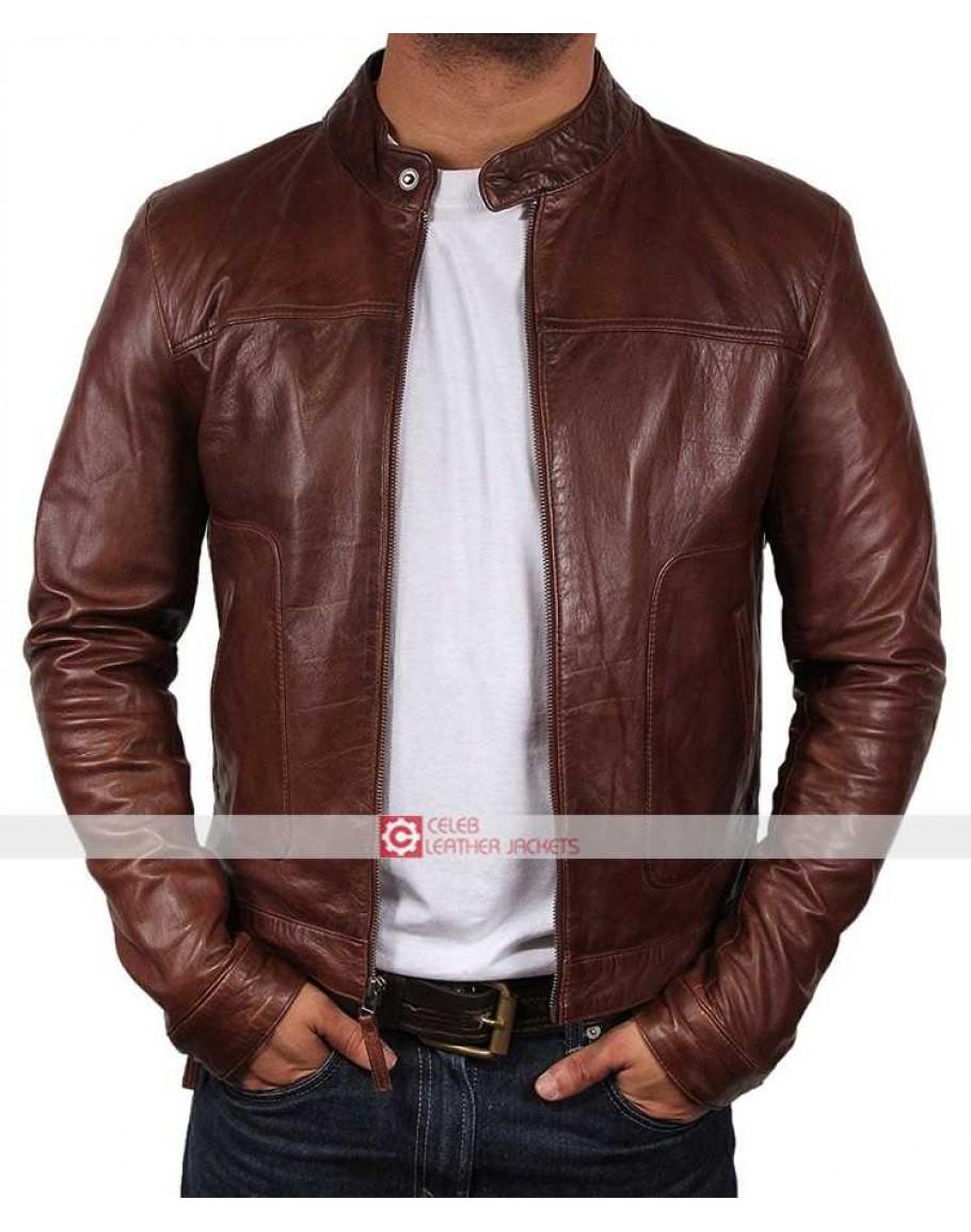 NUOVA linea uomo biker moto vintage effetto anticato marrone Cafe Racer Leather Jacket