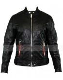 Designer Men L Reed Black Biker Motorcycle Leather Jacket