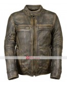 Distressed Wax Men's Biker Vintage Style Cafe Racer Lether Jacket