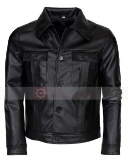 Elvis Presley Black Rockstar Leather Costume Jacket