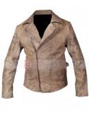 Escape From La Kurt Russell Snake Plissken Distressed Leather Jacket