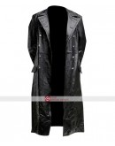 GERMAN PEA COAT Black Men's Classic Officer Military Hide Leather