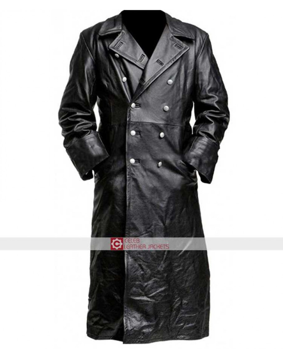 New Men/'s Classic Officer German Army Style Blue Real Hide Leather Jacket Coat