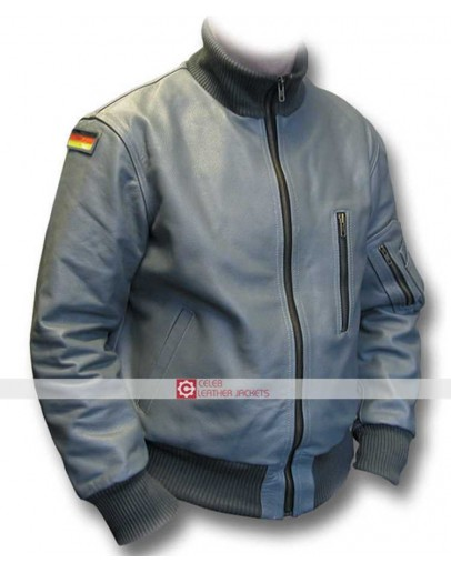 German Flag Grey Luftwaffe Leather PILOTS Flight Jacket