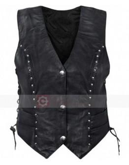 Womens MotorBike Studded Leather Vest