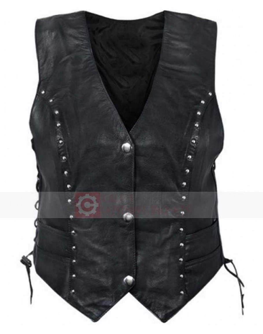 Womens Motorbike Studded Slim Fit Black Leather Vest