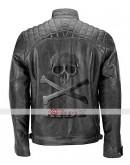 Skull Head Black Biker Quilted Vintage Leather Jacket