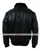 Aviatrix Mens Black Aviator Fur Leather Jacket