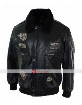 Aviatrix Mens Black Aviator Fur Leather Jacket