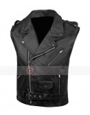 Mens Classic Leather Motorcycle Carry Vintage Leather Vest
