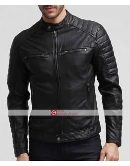 Mens Slim Fit Biker Moto Stile Retro Giacca di pelle nera Taglia XS 6XL