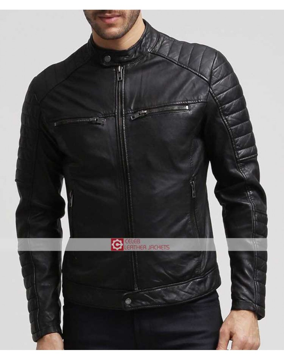 hot sale online fb4b0 7ec6d Mens Slim Fit Biker Moto Stile Retro Giacca di pelle nera Taglia XS 6XL