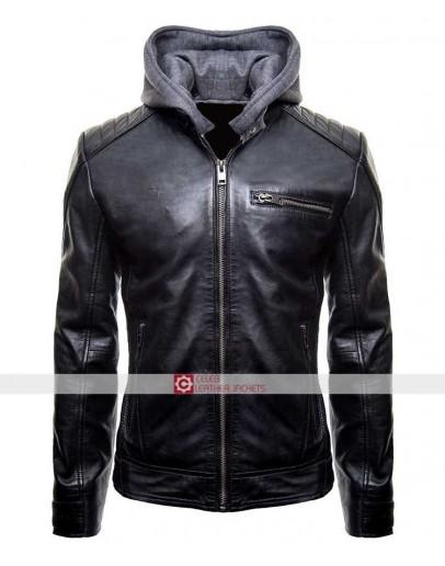 New Batman Logo Motorcycle Brando Biker Real Leather Hoodie Jacket