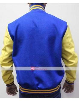 KJ Apa Retro Archie Bomber R Letterman Blue Leather Jacketss