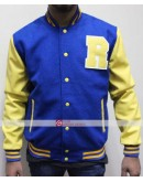 KJ Apa Retro Archie Bomber R Letterman Blue Leather Jacketss