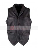 Ryan Michael Old West Retro Distressed Black Leather Vest
