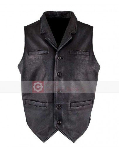Ryan Michael Old West Retro Distressed Black Leather Vest