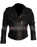 Short Black Biker Leather Jacket For Women