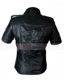 Short Mens Fashion Real Leather T Shirt