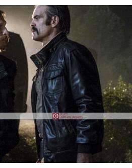 Walking Dead Steven Ogg Simon Black Leather Jacket