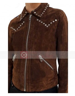 Woman BLANKNYC Suede Moto Studded Jacket