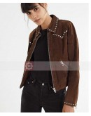 Woman BLANKNYC Suede Moto Studded Jacket