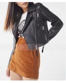 Woman Fashion UO Faux Leather Cropped Moto Biker Jacket