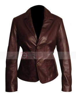 Woman Two Button Dark Brown Leather Blazer Jacket