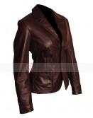Woman Two Button Dark Brown Leather Blazer Jacket