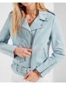 Womens Slim Fit SkyBlue Schott Boyfriend Biker Leather Jacket