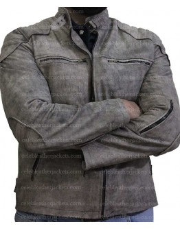 Cafe Racer Antique Grey Distressed Genuine Leather Jacket