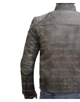Cafe Racer Antique Grey Distressed Genuine Leather Jacket