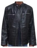 Mens Slim Fit Black Leather Biker Jacket
