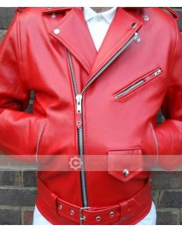 Cafe Racer Brando Biker Vintage Classic Red Motorcycle Leather Jacket