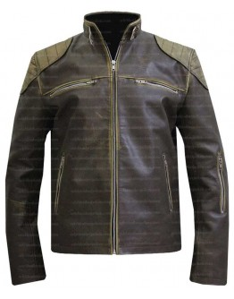 Antique Distressed Cafe Racer Slim Fit Biker Leather Jacket