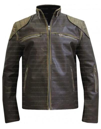 Antique Distressed Cafe Racer Slim Fit Biker Leather Jacket