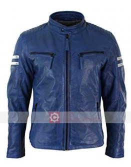 Aviatrix Slimfit Blue Biker White Stripes Leather Jacket