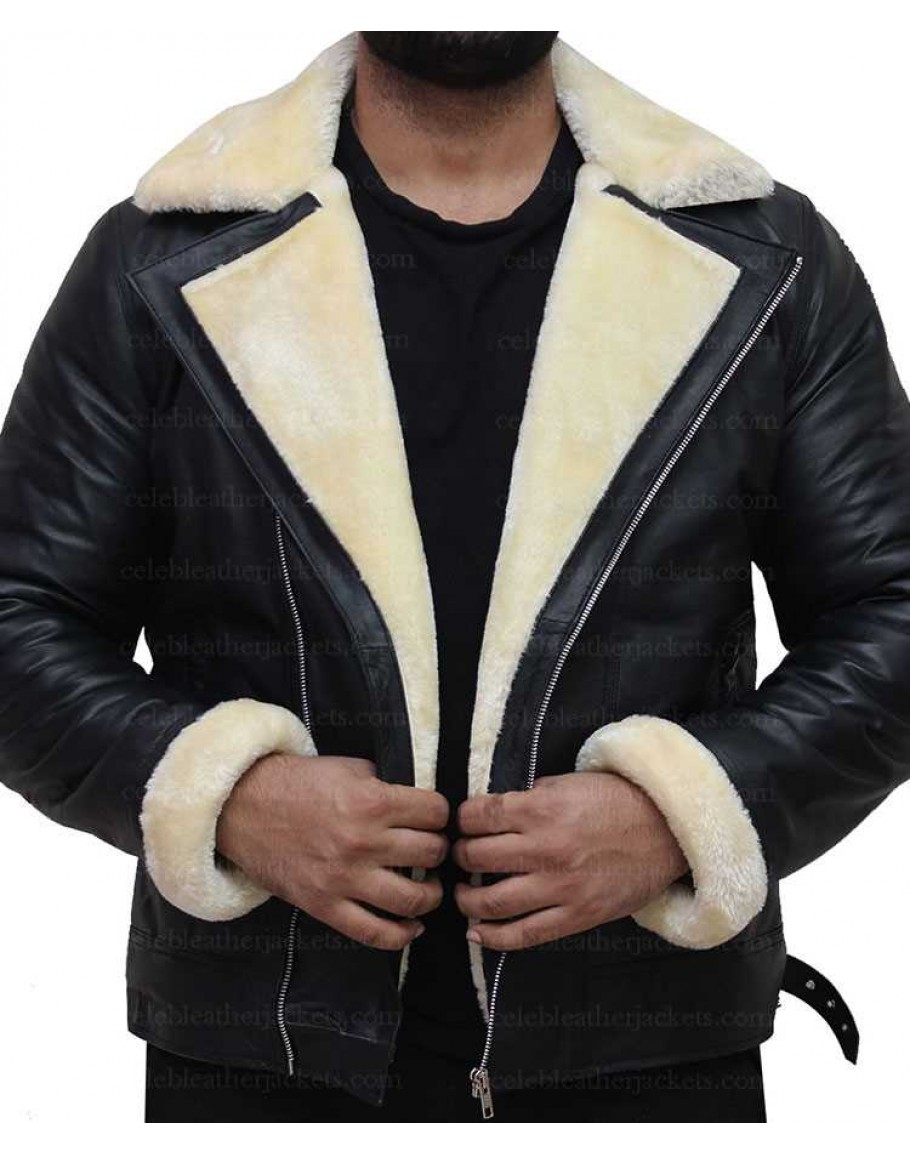 B3 Bomber Full Fur Removable Hood Genuine Sheepskin Shearling Leather Jacket