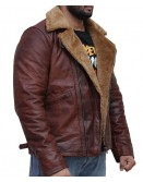 B3 Brown Shearling Fur Genuine Leather Jacket