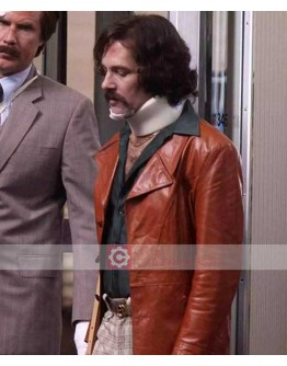 Brian Fantana Anchorman 2 Paul Rudd Brown Leather Coat