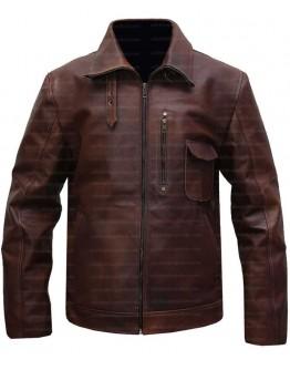 Cafe Racer Brown Shirt Collar Leather Jacket