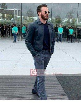 Chris Evans Apple Event 2019 Black Leather Jacket